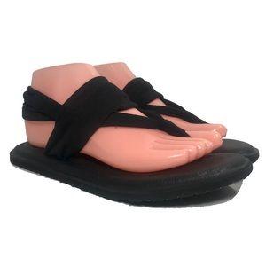 OP Yoga Mat Slingback Thong Sandals Black